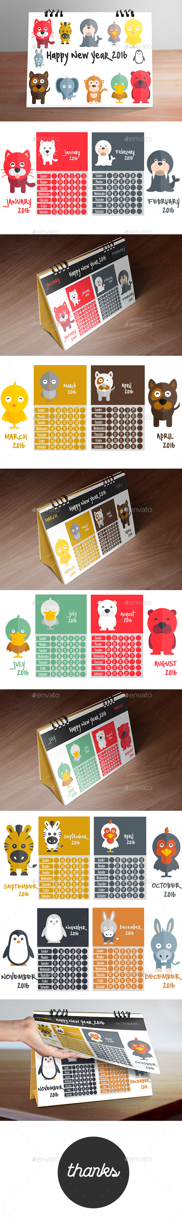 Calendar 2016 (Kid Desk Calendar Designing) - Calendars Stationery