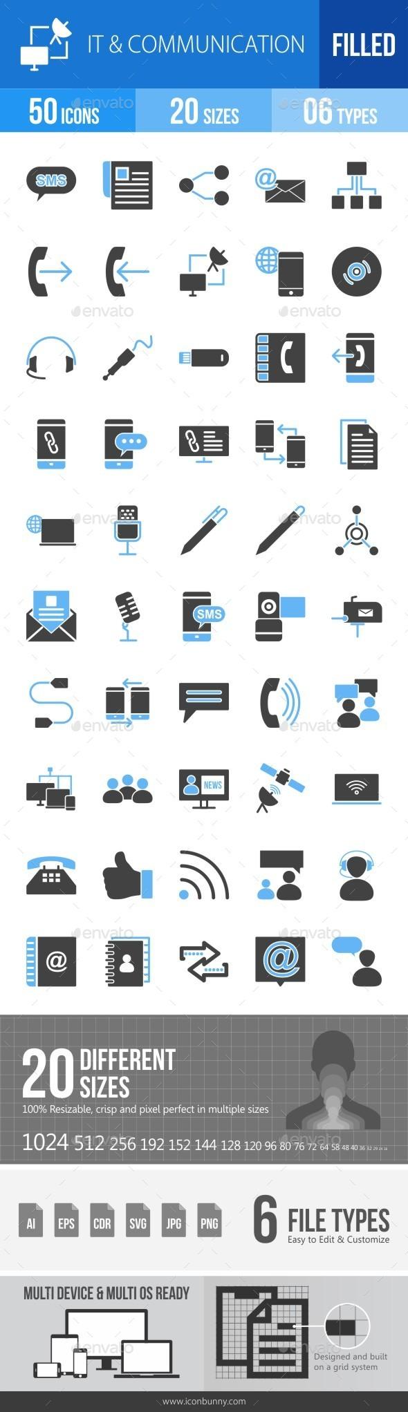 IT & Communication Blue & Black Icons - Icons