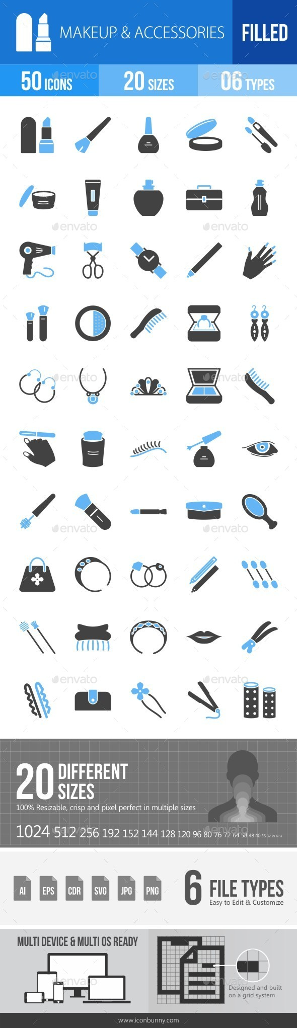 Makeup & Accessories Blue & Black Icons - Icons