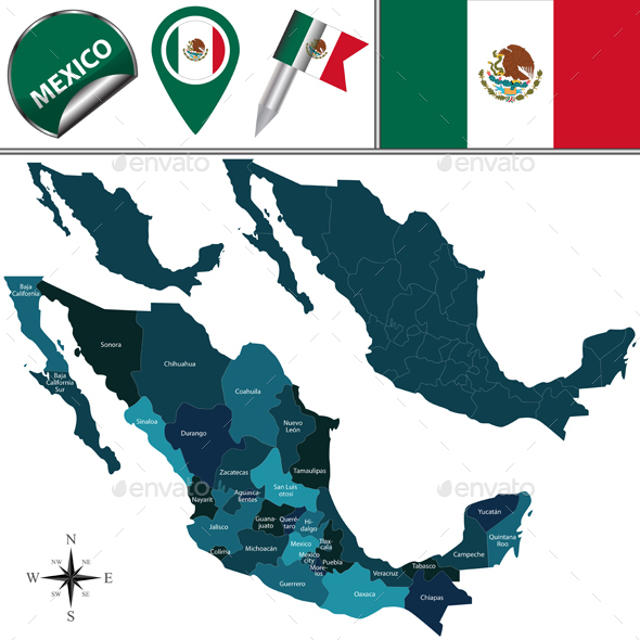 Map of Mexico - Travel Conceptual
