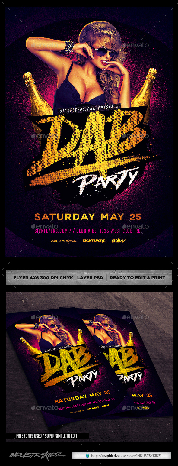 Dab Party Flyer PSD - Clubs & Parties Events