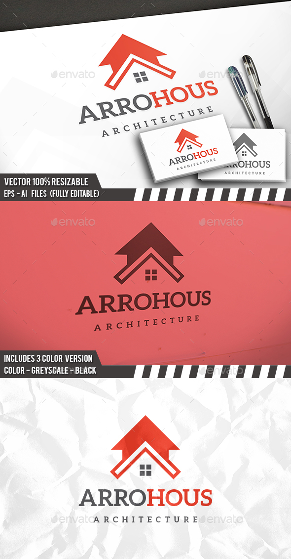 Arrow House Logo - Buildings Logo Templates
