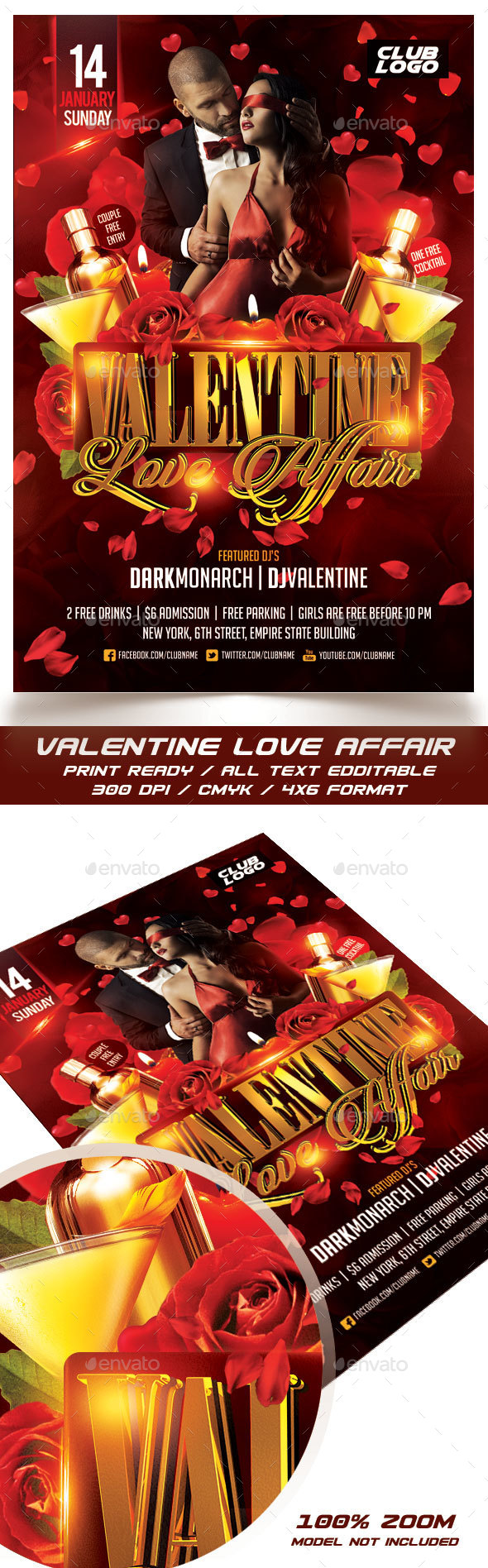 Valentine Love Affair Flyer - Events Flyers