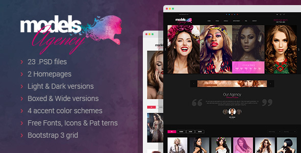 Models Agency - premium portfolio PSD Template - Photography Creative