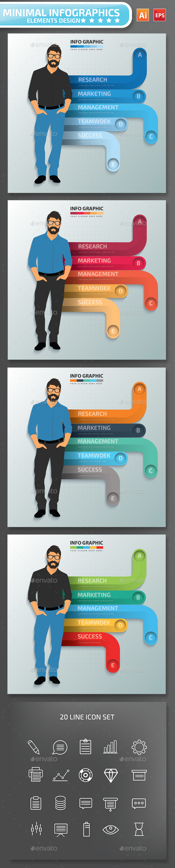 Minimal Businessman Infographics Design 01 - Infographics