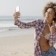 Young Woman Doing Selfie On The Beach - VideoHive Item for Sale