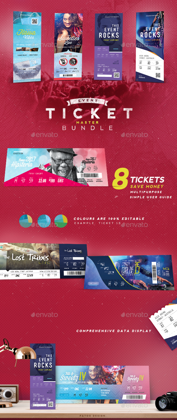 Event Tickets Master Pack - Miscellaneous Print Templates