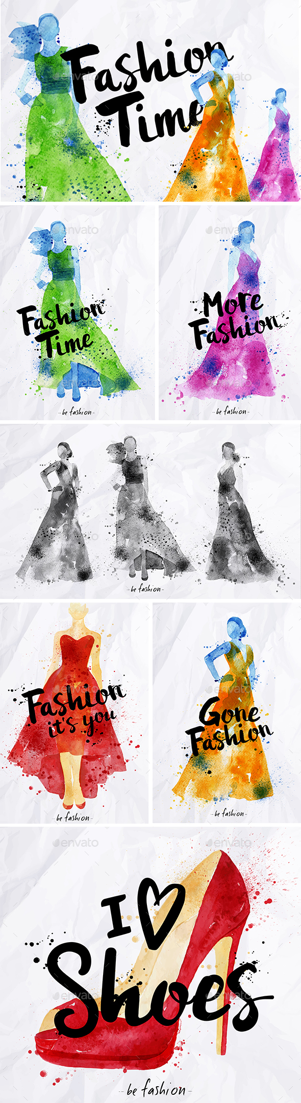 Watercolor Fashion Elements - Miscellaneous Characters