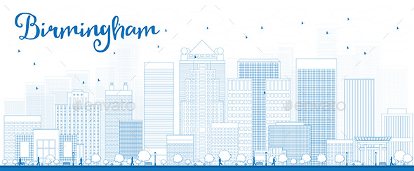 Outline Birmingham Skyline with Blue Buildings - Buildings Objects