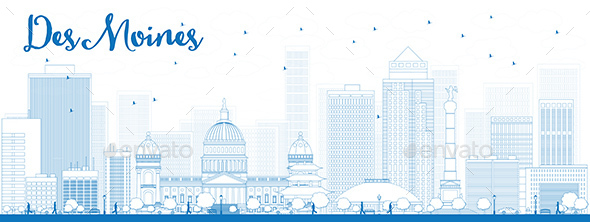 Outline Des Moines Skyline with Blue Buildings. - Buildings Objects
