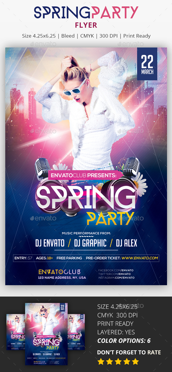 Spring Party - PSD Flyer - Clubs & Parties Events