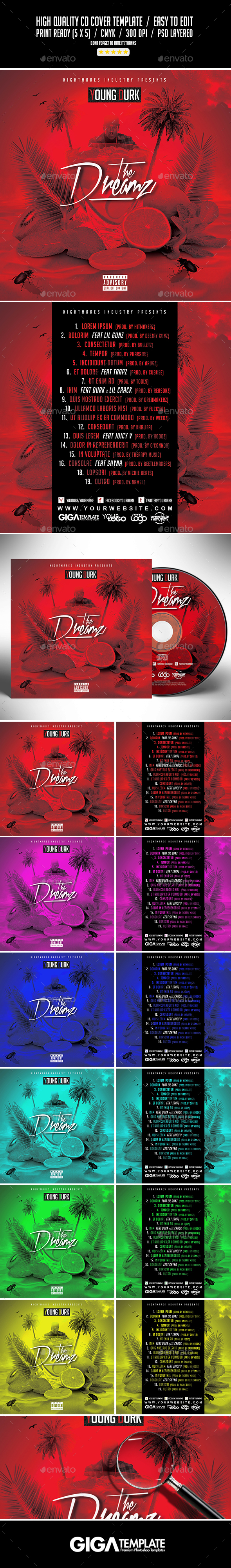 The Dreamz | Hip-Hop Mixtape Album CD Cover Template - CD & DVD Artwork Print Templates