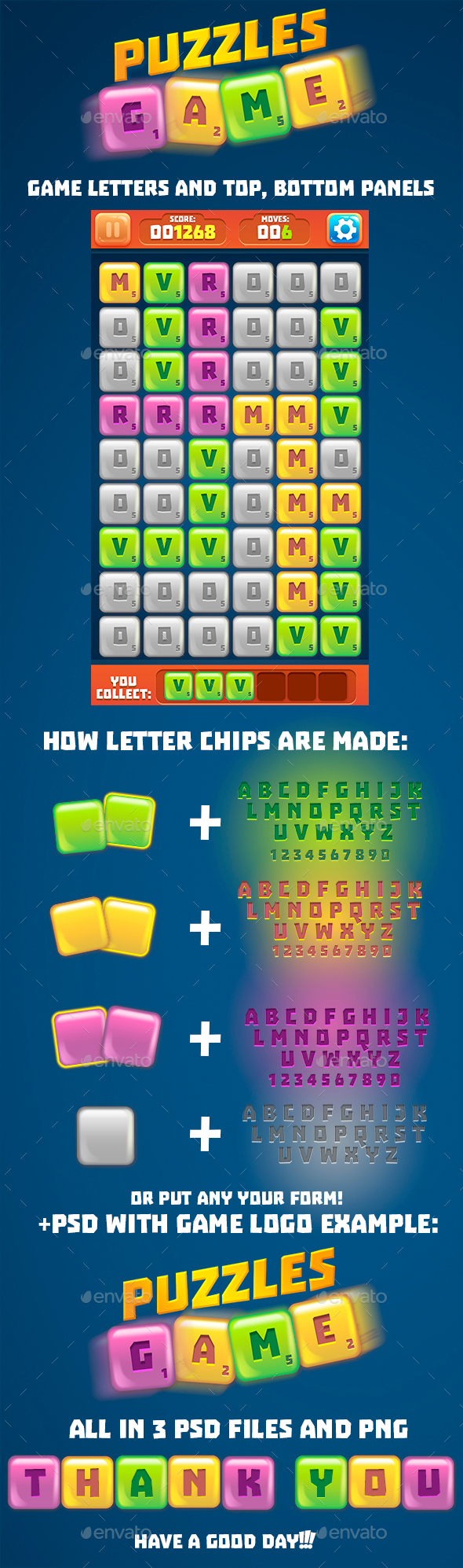 Letter Tiles Puzzle Game Set  - Game Kits Game Assets