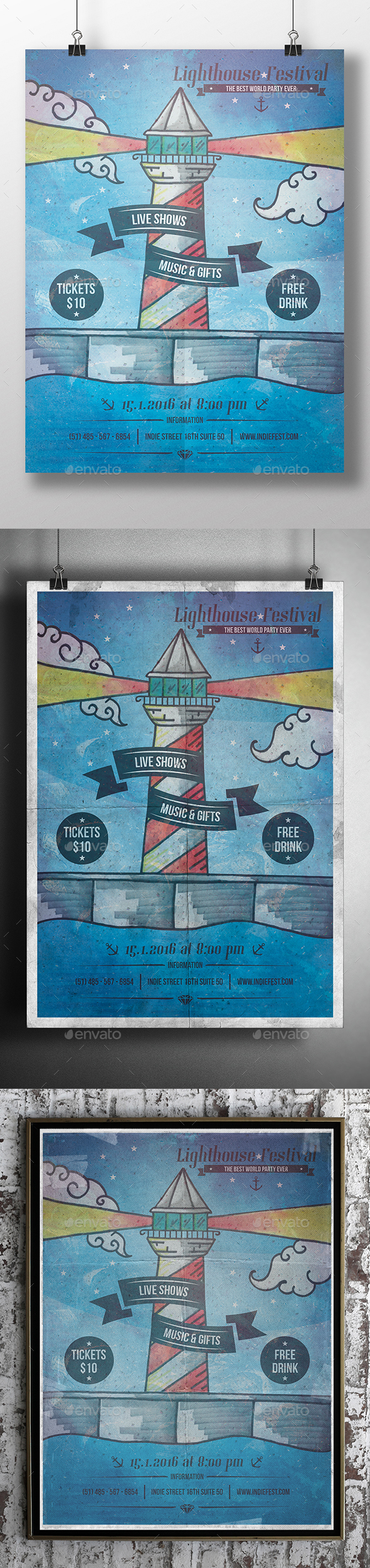 Lighthouse Poster Flyer - Concerts Events