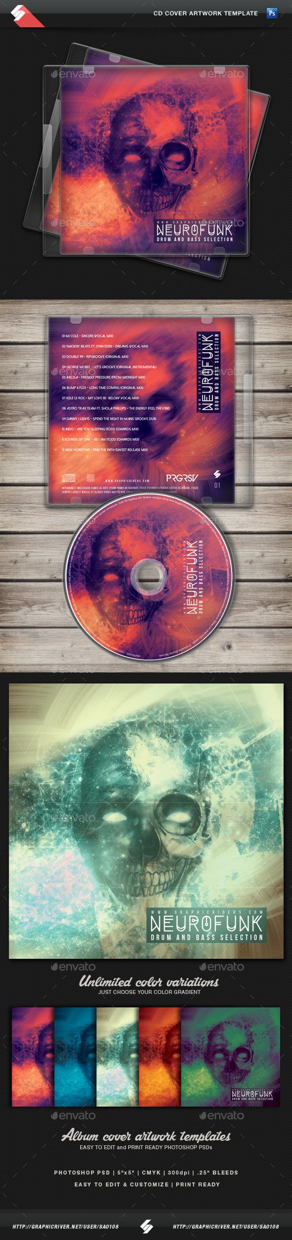 Neurofunk - Hardcore CD Cover Template - CD & DVD Artwork Print Templates