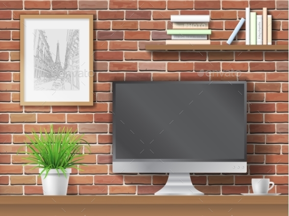 Work Table on Brick Wall Background - Computers Technology