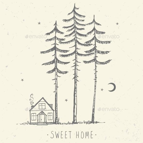 Pine and House Silhouette - Landscapes Nature
