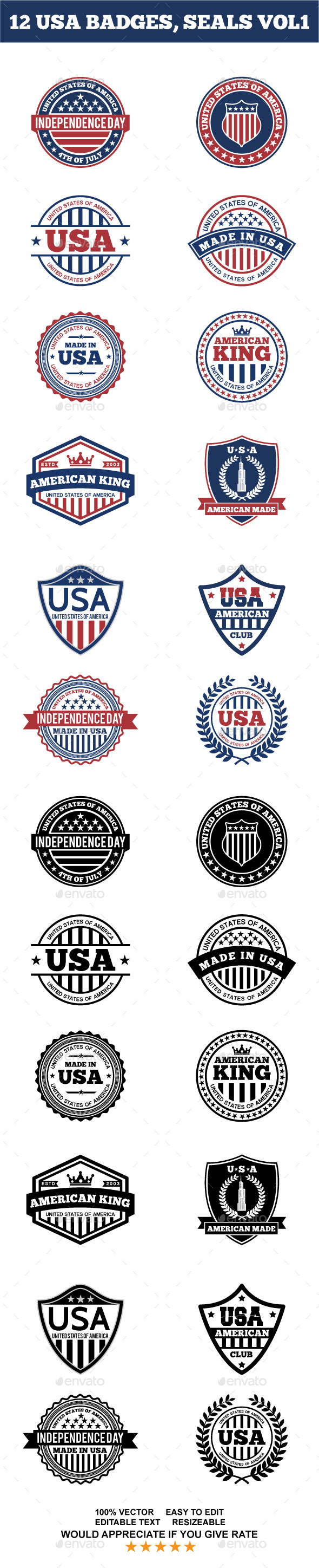 12 USA BADGES,  SEALS VOL1 - Badges & Stickers Web Elements