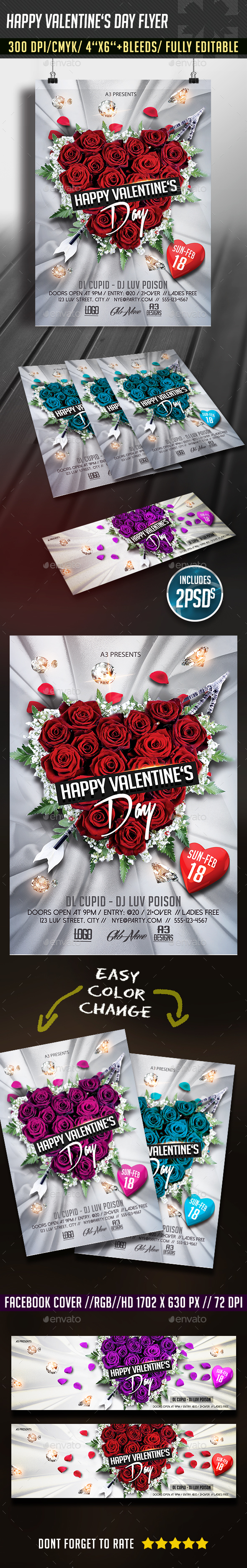 Happy Valentine's Day Flyer + FB Cover - Clubs & Parties Events