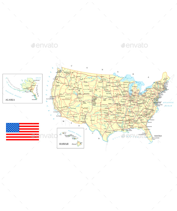 USA - Detailed Map - Illustration. - Travel Conceptual