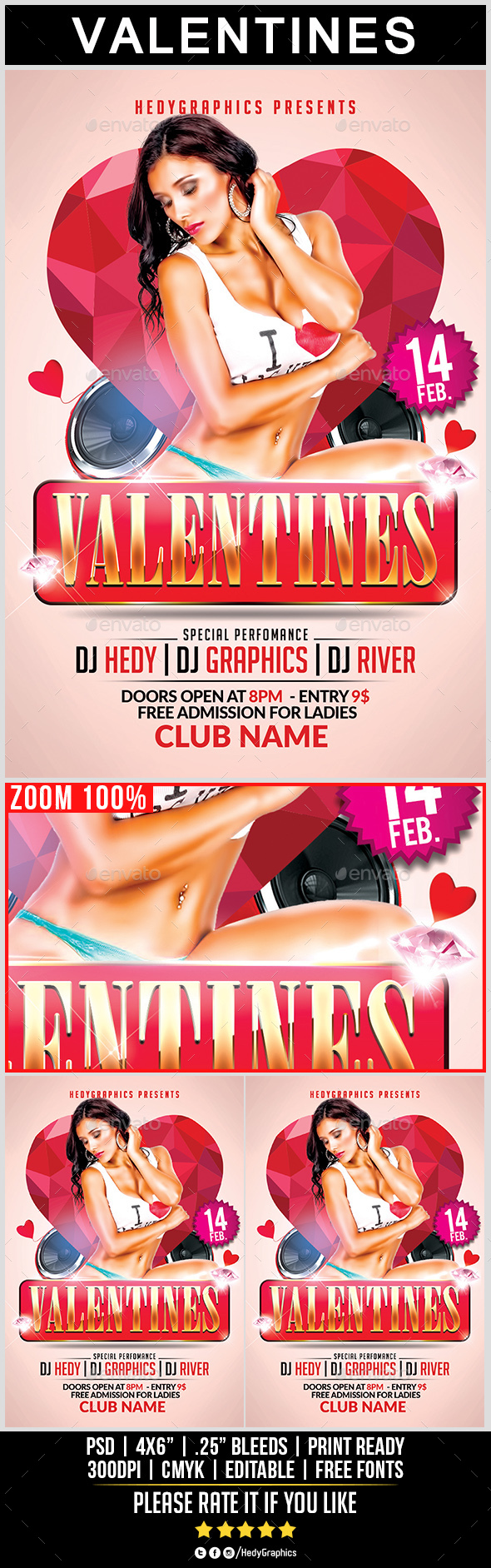 Valentines - Flyer Template - Holidays Events