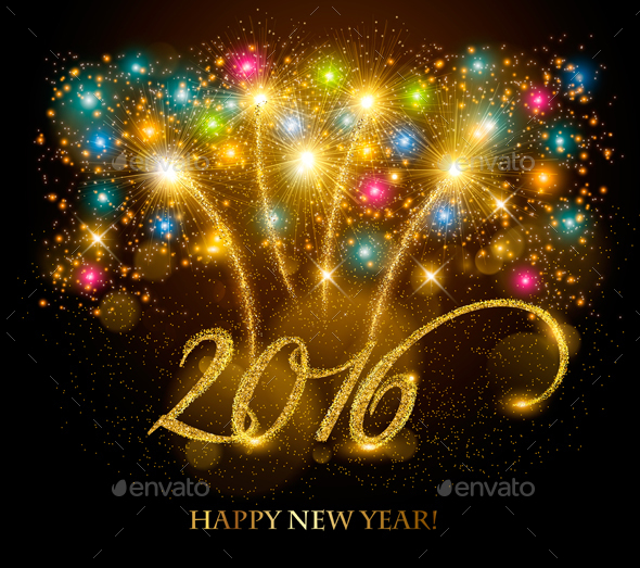 Celebration Background with a Gold 2016 - New Year Seasons/Holidays
