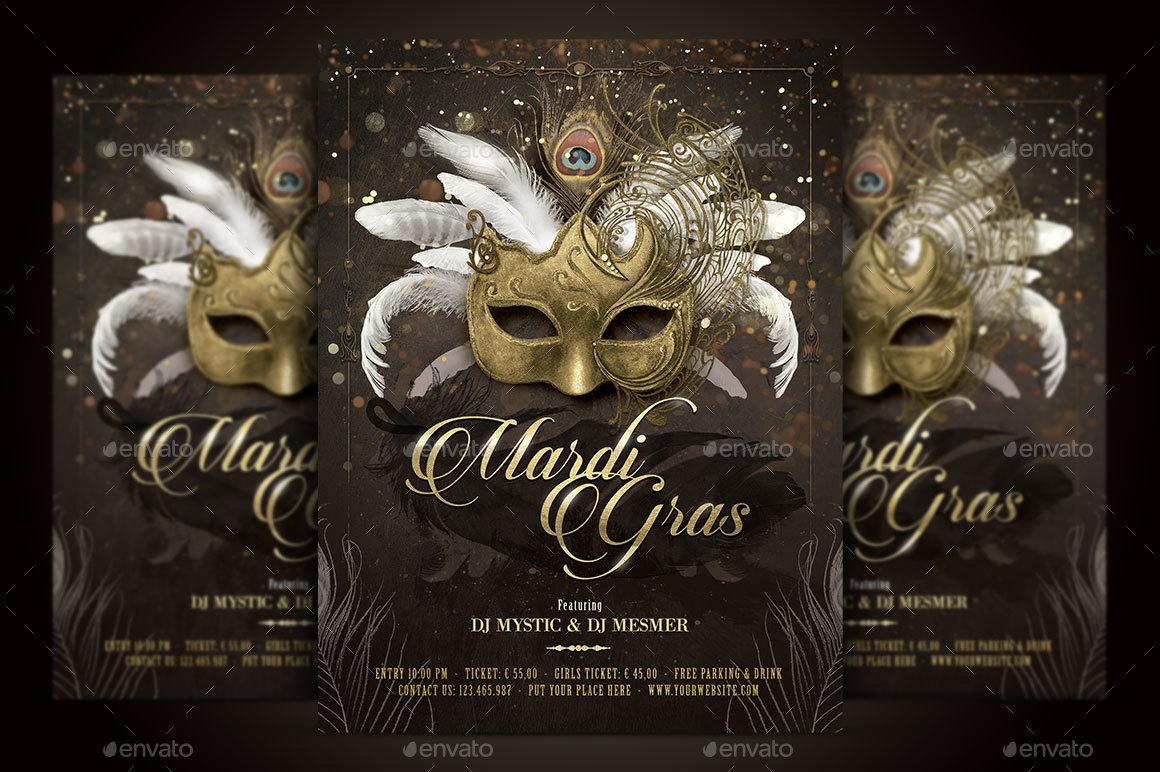 Mardi Gras Masquerade Ball Flyer By Serenasorrenti
