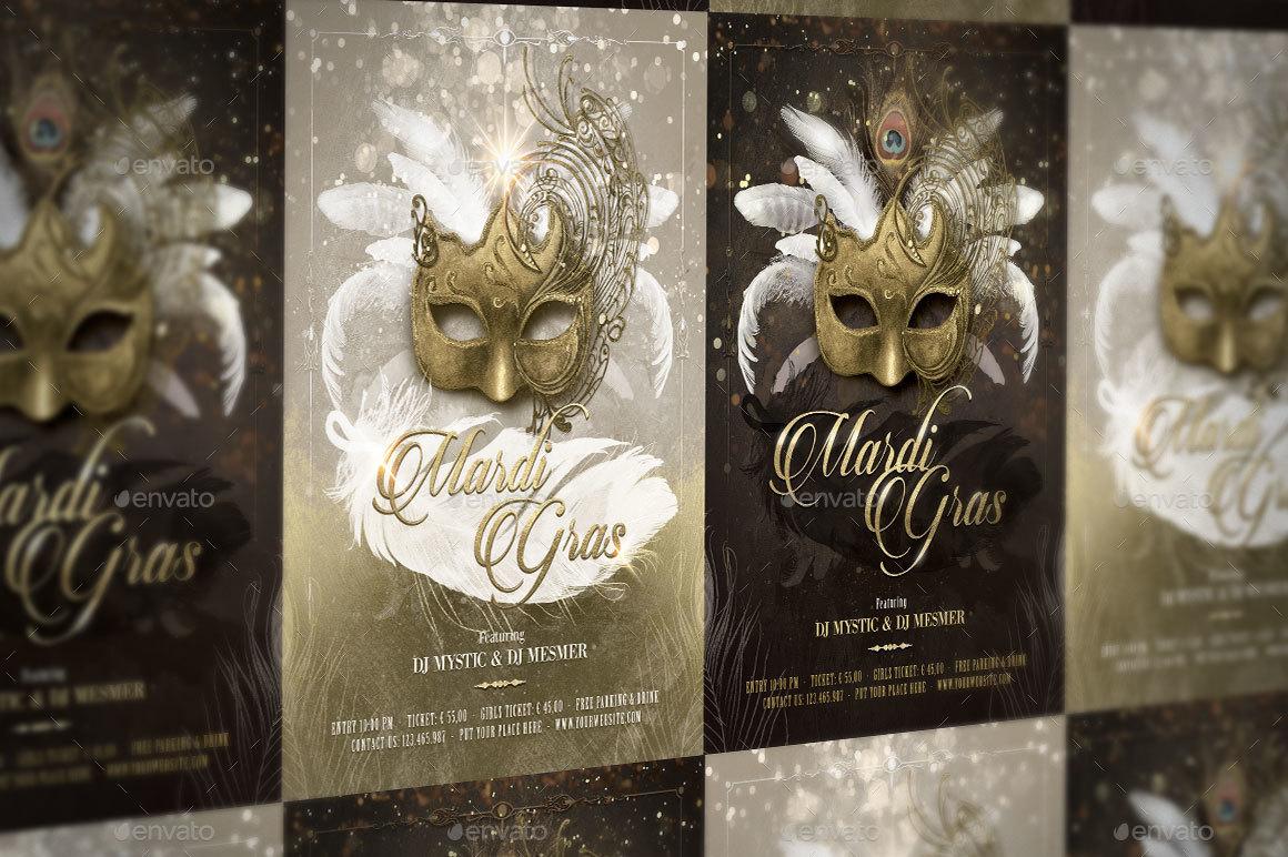Mardi Gras Masquerade Ball Flyer by serenasorrenti   GraphicRiver