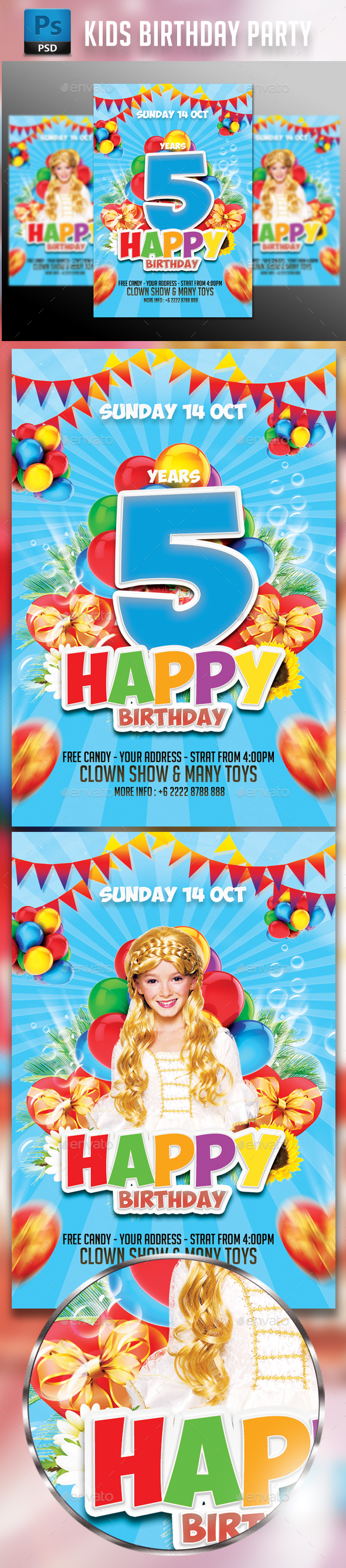 Kids Birthday Party Flyer Template - Events Flyers