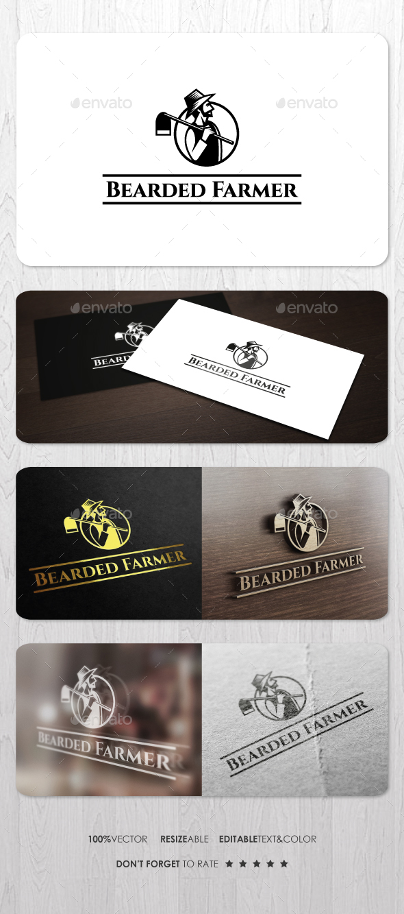 Bearded Farmer Logo - Humans Logo Templates