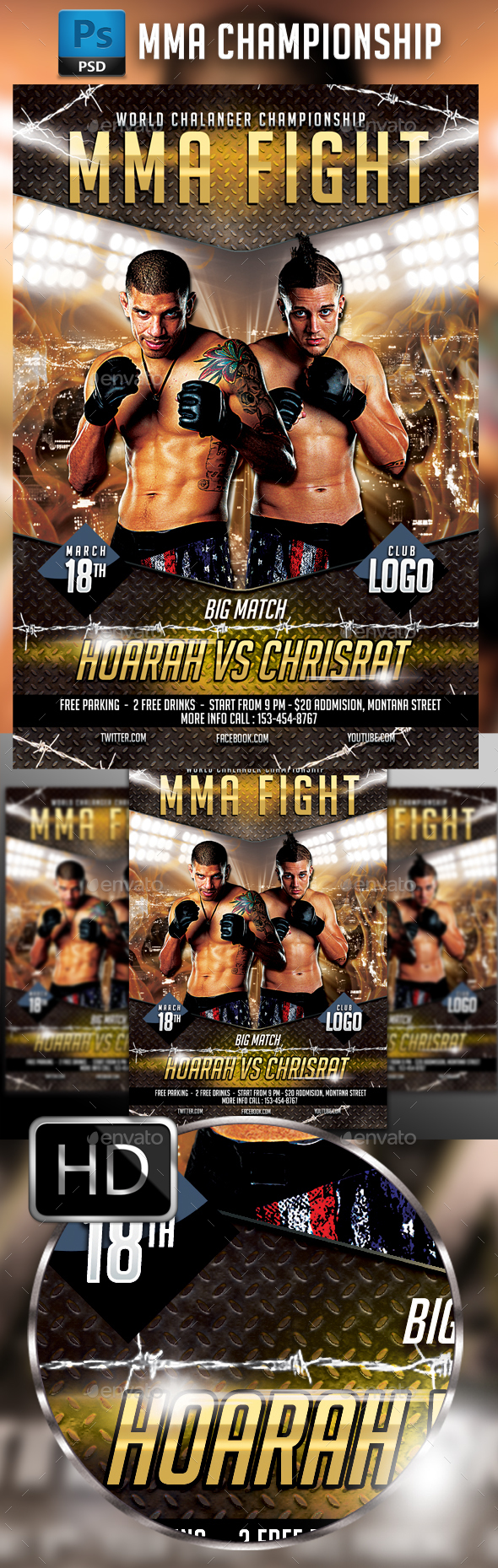 UFC - MMA Fighting Flyer Template #5 - Sports Events