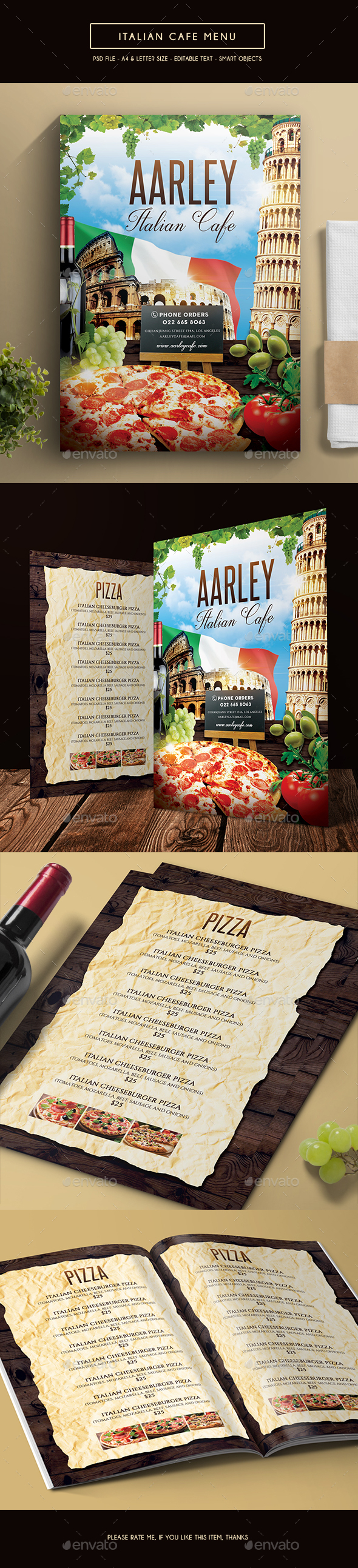 Italian Cafe Menu - Food Menus Print Templates