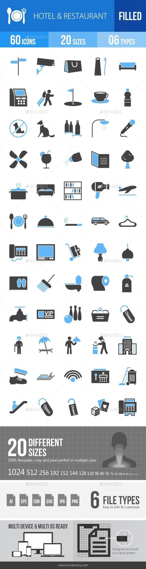 Hotel & Restaurant Blue & Black Icons - Icons