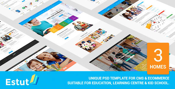 Estut – Material Design Education, Learning Centre & Kid School PSD Template