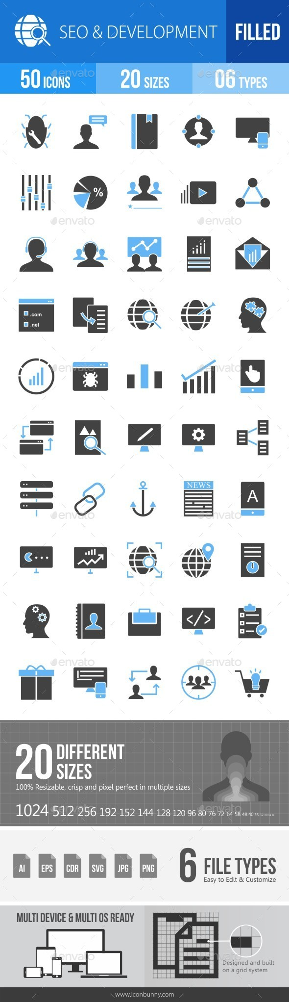 SEO & Development Services Blue & Black Icons - Icons