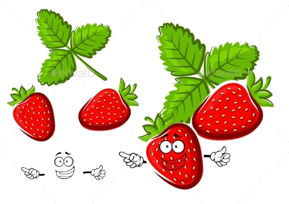 Red Strawberry Fruit Cartoon Character - Food Objects