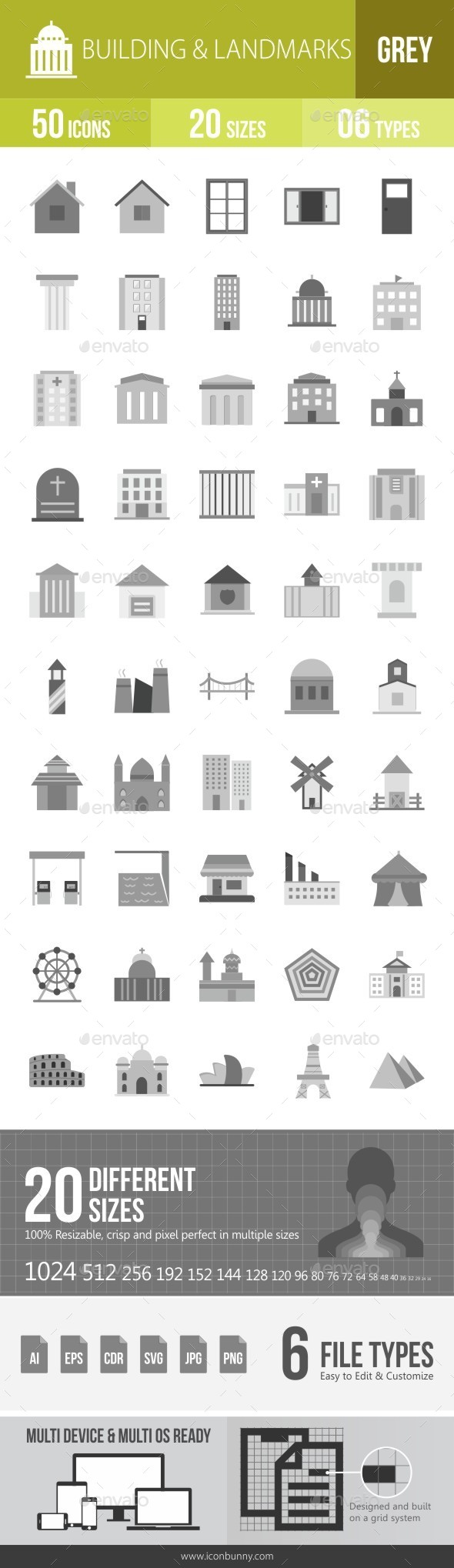 Buildings & Landmarks Greyscale Icons - Icons