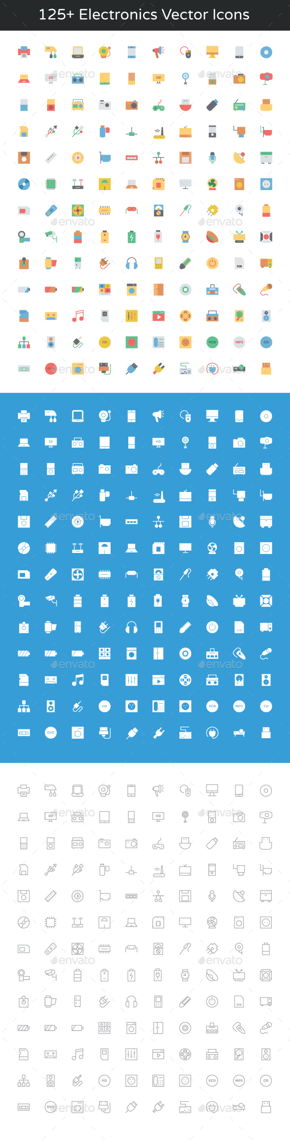 125+ Electronics Vector Icons - Objects Icons