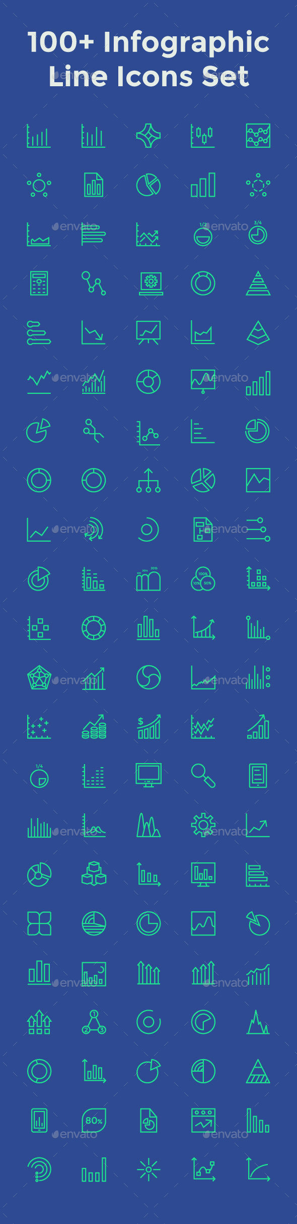 100+ Infographic Line Icons Set - Icons