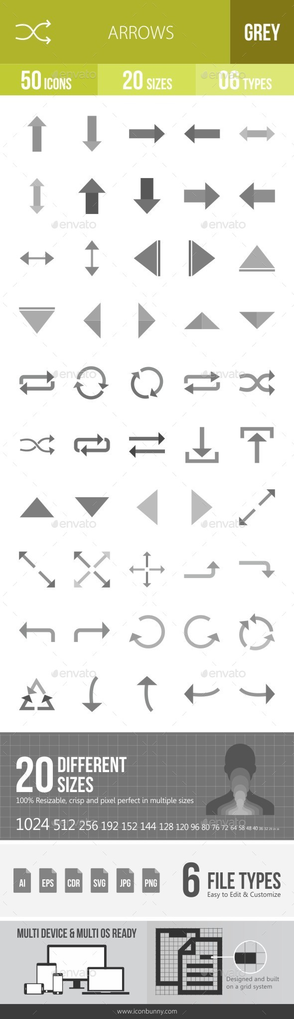 Arrows Greyscale Icons - Icons