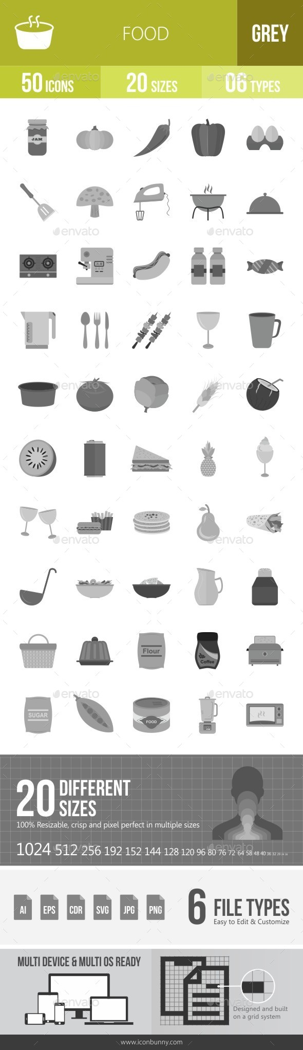 Food Greyscale Icons - Icons
