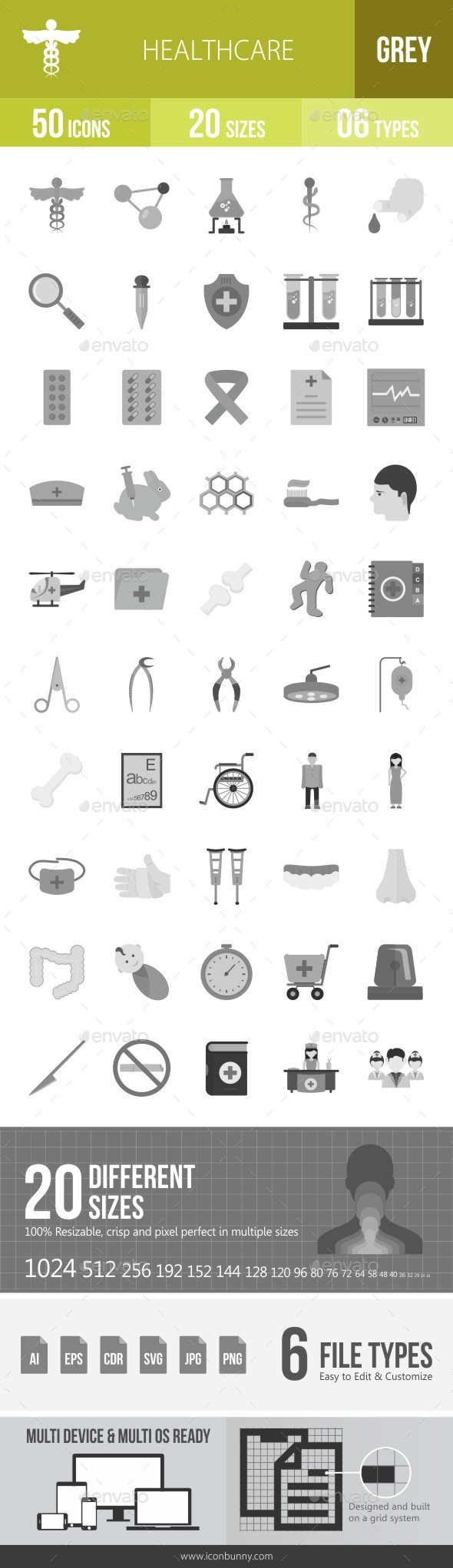 Healthcare Greyscale Icons - Icons