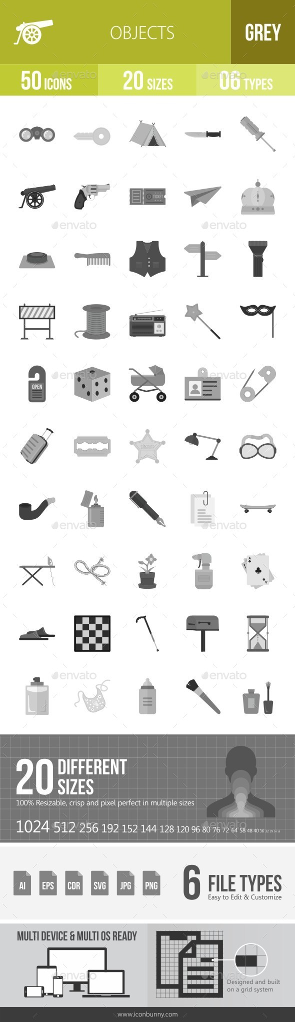 Objects Greyscale Icons - Icons