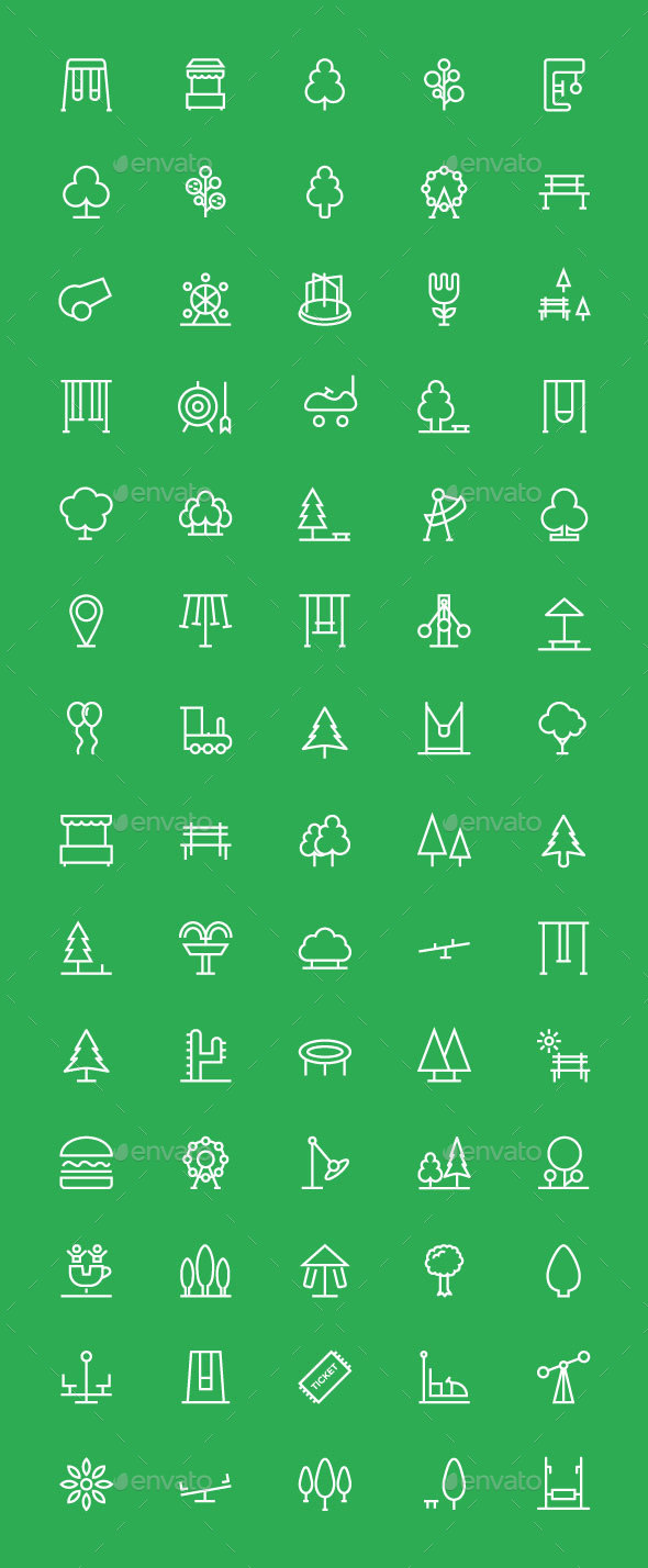 70 Park Outline Icons Set - Icons