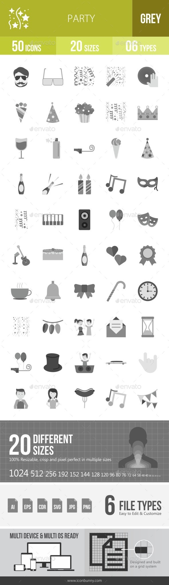 Party Greyscale Icons - Icons