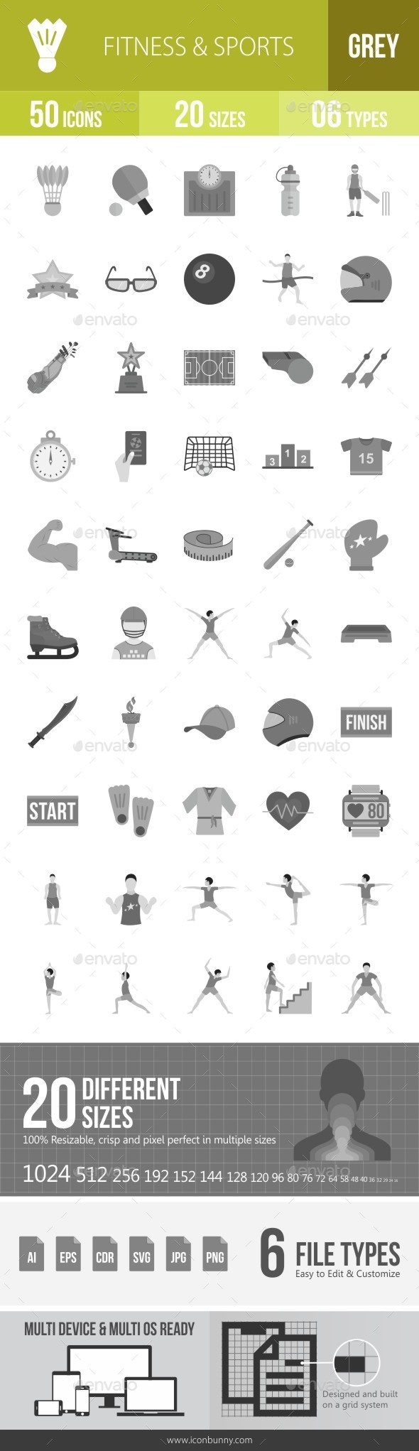 Fitness & Sports Greyscale Icons - Icons