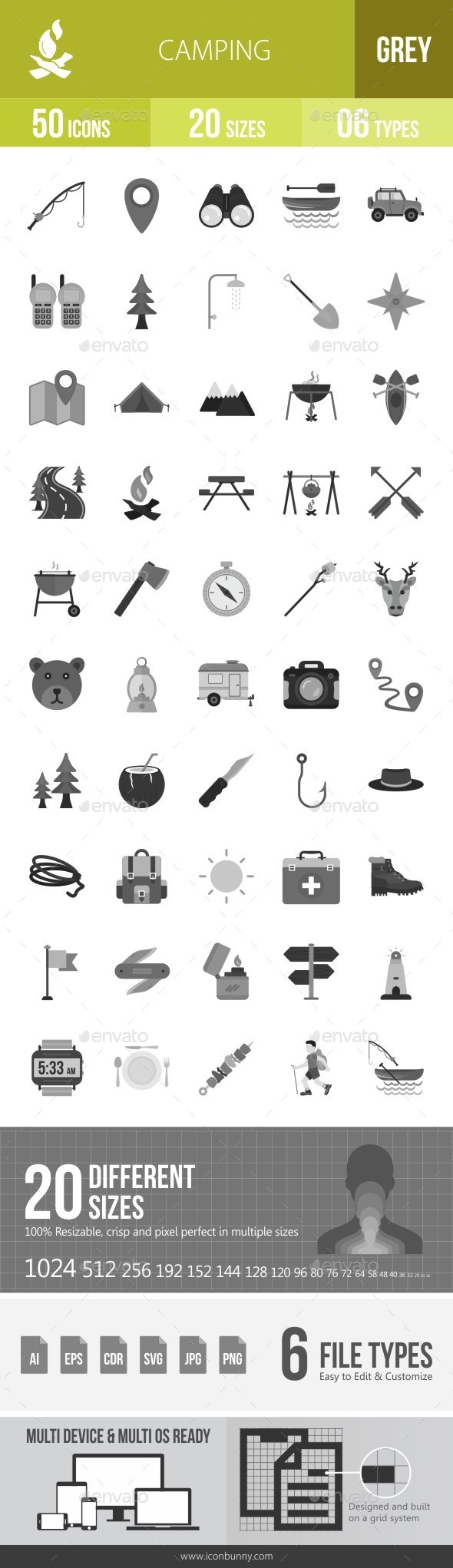 Camping Greyscale Icons - Icons