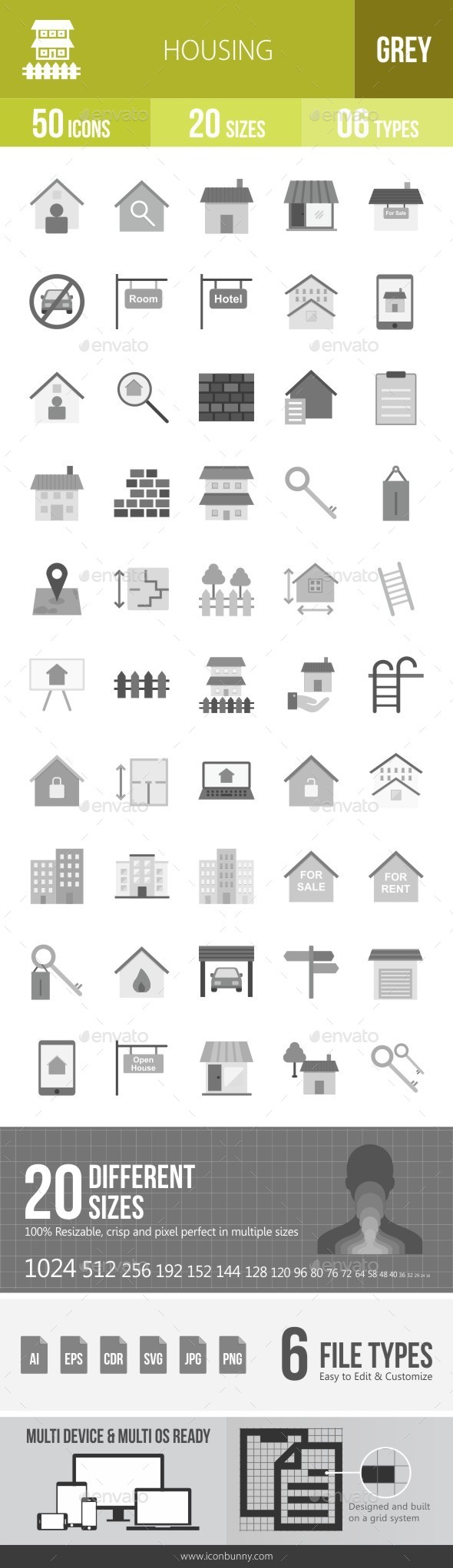 Housing Greyscale Icons - Icons