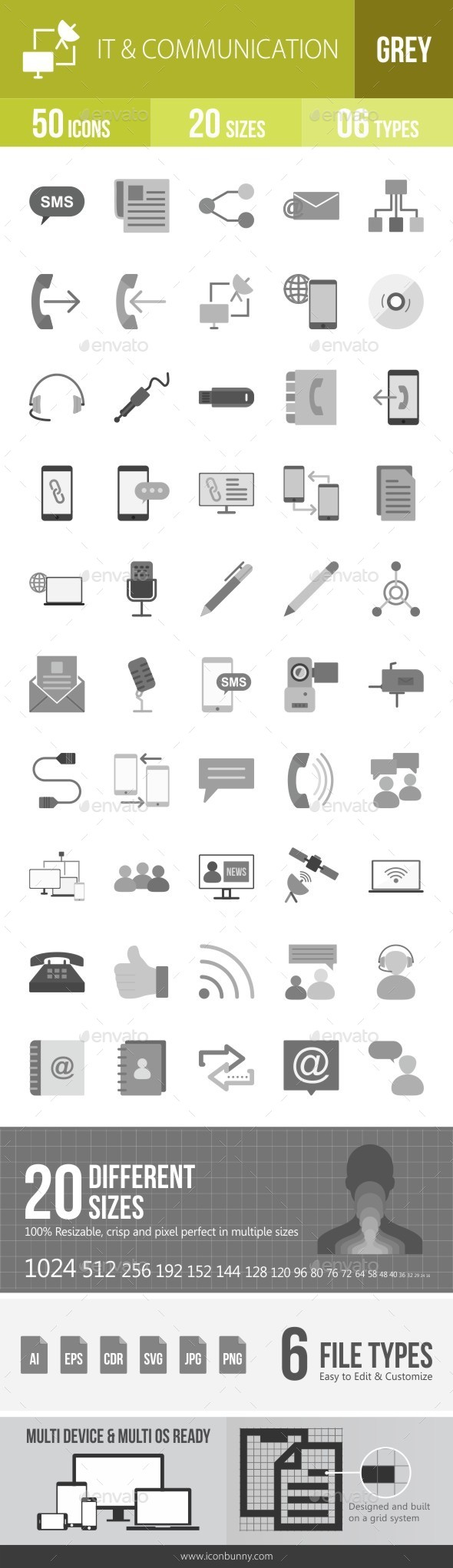 IT & Communication Greyscale Icons - Icons