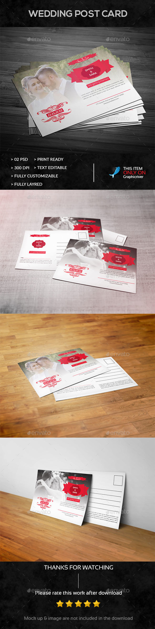 Wedding Post Card - Cards & Invites Print Templates